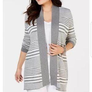 Multi-Striped Cardigan Sweater